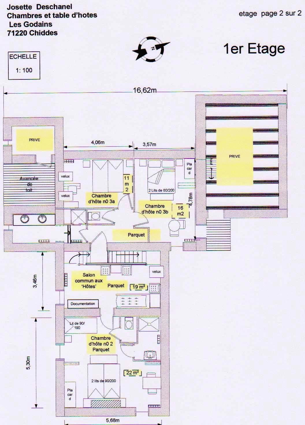 Plan chambre d 39 hote1er etage - Chambre d hote avec table d hote ...